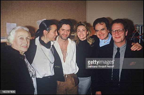 Emmanuelle Beart after La Double Inconstance Dress Rehearsal at the Theatre de l'Atelier with her mother Genevieve Galea her grandmother and father...