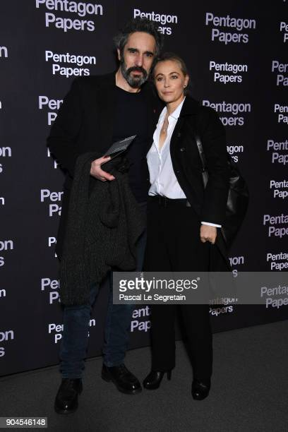 Emmanuelle Beart and her partner attend 'Pentagon Papers' Premiere at Cinema UGC Normandie on January 13 2018 in Paris France