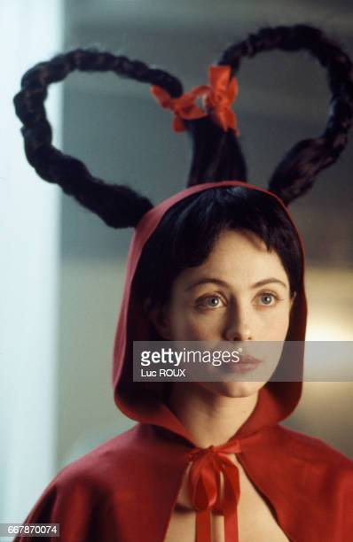 Emmanuelle Beart on the set of the short film Le Dernier Chaperon Rouge directed by Jan Kounen