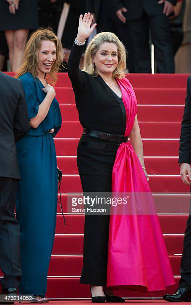 Emmanuelle Bercot and Catherine Deneuve attend the opening ceremony and premiere of La Tete Haute during the 68th annual Cannes Film Festival on May...