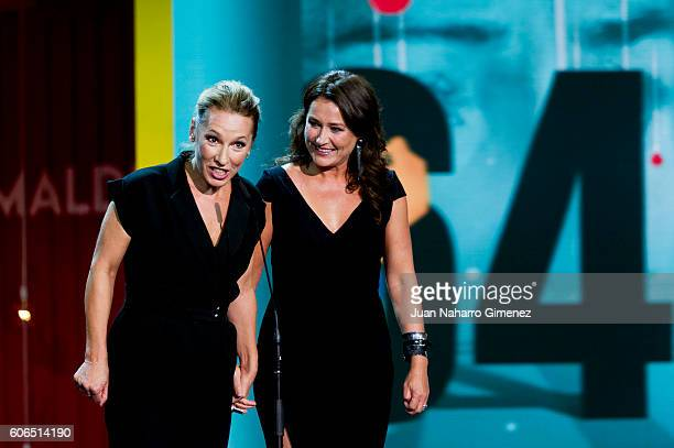 Emmanuelle Bercot and Sidse Babett Knudsen attend the opening gala during 64th San Sebastian Film Festival at Kursaal on September 16 2016 in San...