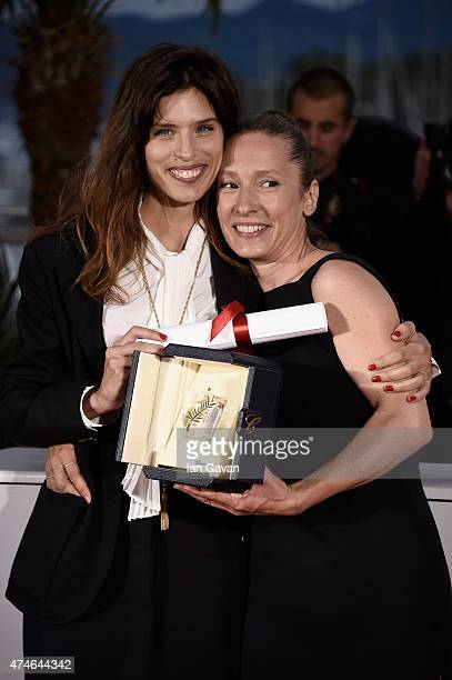 Emmanuelle Bercot Best Performance by an Actress award for her performance in 'Mon Roi' poses with Maiwenn during a photocall for the winners of the...