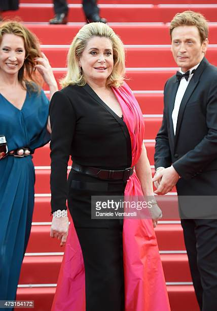Emmanuelle Bercot Catherine Deneuve and Benoit Magimel attend the opening ceremony and premiere of La Tete Haute during the 68th annual Cannes Film...