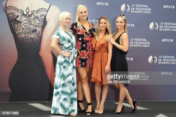 Emmanuelle Berne Katrina Patchett Jade Geropp and Denitsa Ikonomova pose on June 19 2018 during a photocall for the TV show Danse avec les stars as...