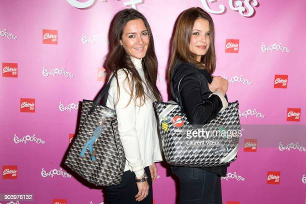 Emmanuelle Boidron and Severine Ferrer attend 'Enooormes' Paris Premiere at Theater Trevise on January 12 2018 in Paris France