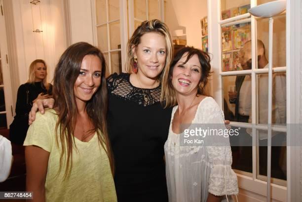 Emmanuelle Boidron Caroline Faindt and Zoe Tellier attend the 'Love EtcÉ' Caroline Faindt Exhibition Preview at '28 Octobre Office' on October 17...