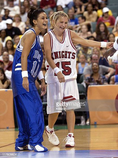 Emmanuelle Chriqui and Beverley Mitchell during *NSYNC's Challenge for the Children V Game at Office Depot Center in Fort Lauderdale Florida United...