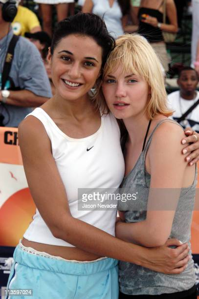 Emmanuelle Chriqui and Elisha Cuthbert during *NSYNC's Challenge for the Children V Celebrity Skills Challenge at Collins Park in Miami Beach Florida...