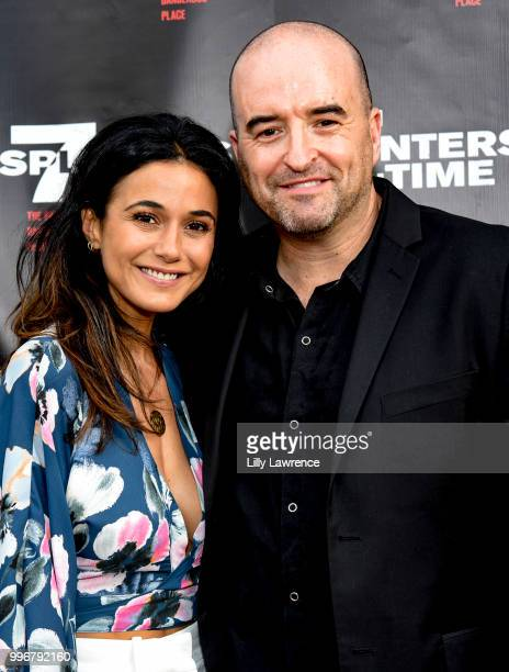 Emmanuelle Chriqui and Greg Bennick arrive at the '7 Splinters In Time' Premiere at Laemmle Music Hall on July 11 2018 in Beverly Hills California