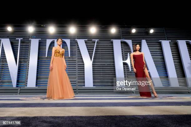 Emmanuelle Chriqui and Jenna Dewan Tatum attend the 2018 Vanity Fair Oscar Party hosted by Radhika Jones at Wallis Annenberg Center for the...