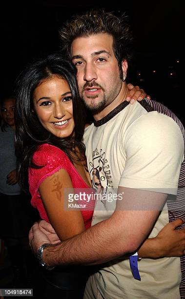 Emmanuelle Chriqui and Joey Fatone of NSYNC during Miramax 'On The Line' premiere party at Planet Hollywood at Planet Hollywood in New York City New...