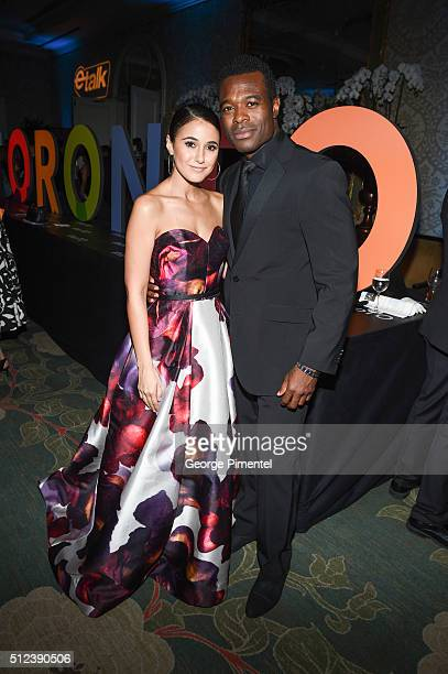 Emmanuelle Chriqui and Lyriq Bent attend the 3rd Annual An Evening With Canada's Stars at Four Seasons Hotel Los Angeles at Beverly Hills on February...
