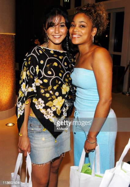 Emmanuelle Chriqui and TBoz of TLC during *NSYNC's Challenge for the Children V TipOff Party at the Murano Grande at Murano Grande in Miami Beach...