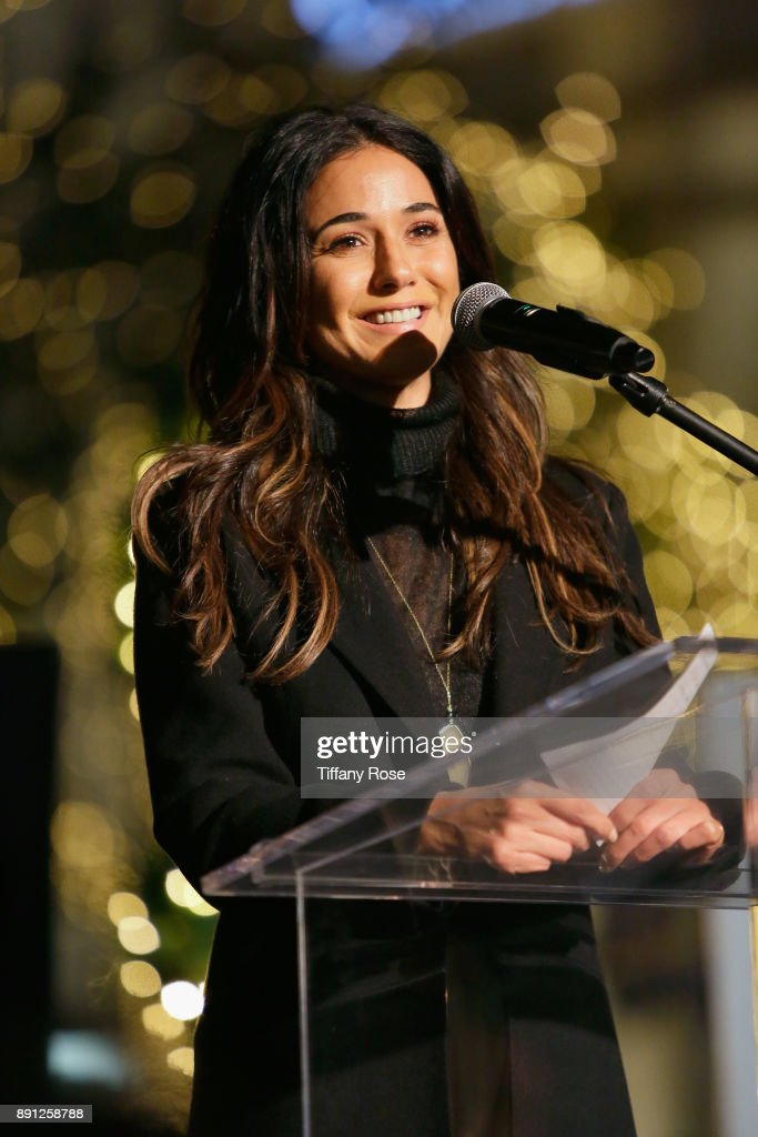 Emmanuelle Chriqui at the Village Synagogue and Emmanuelle Chriqui Host Menorah Lighting Ceremony at The Grove on December 12, 2017 in Los Angeles, California.