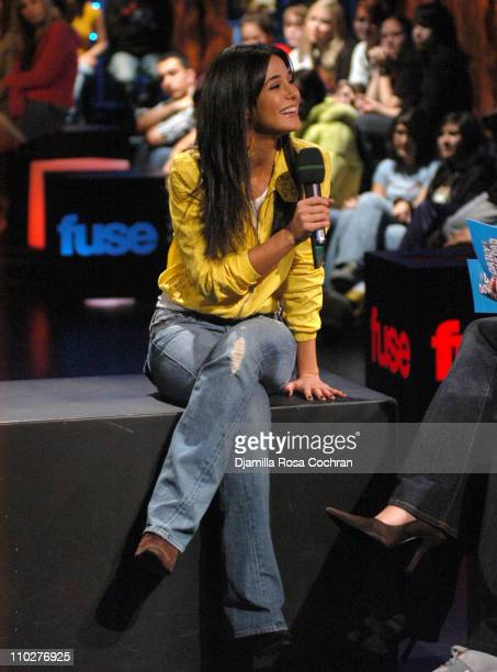 Emmanuelle Chriqui during Mike Shinoda Emmanuelle Chriqui and My Chemical Romance Visit Fuse's 'Daily Download' November 22 2005 at Fuse Studios in...