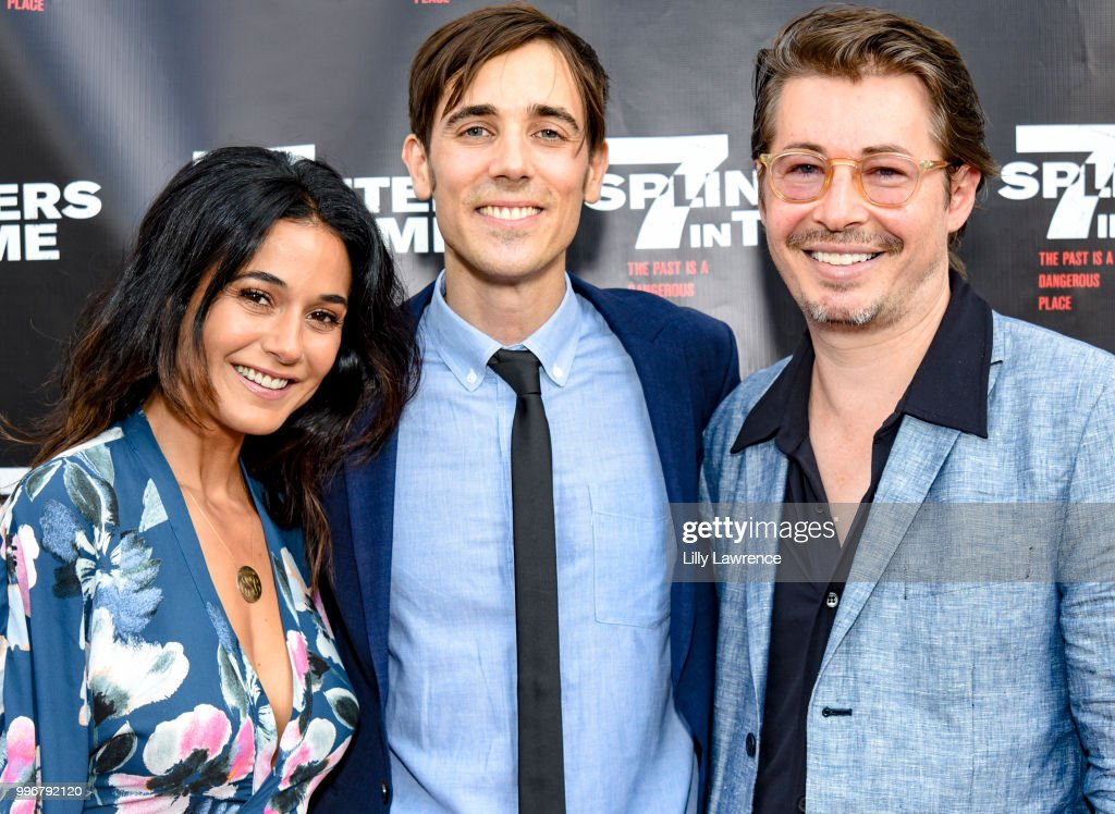 Emmanuelle Chriqui, Gabriel Judet-Weinshel and Edoardo Ballerini arrive at the '7 Splinters In Time' Premiere at Laemmle Music Hall on July 11, 2018 in Beverly Hills, California.