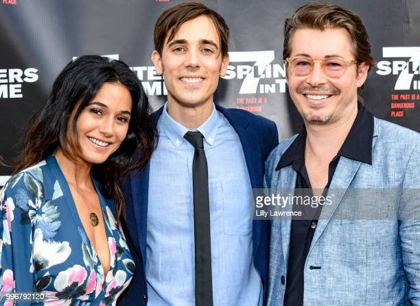Emmanuelle Chriqui Gabriel JudetWeinshel and Edoardo Ballerini arrive at the '7 Splinters In Time' Premiere at Laemmle Music Hall on July 11 2018 in...