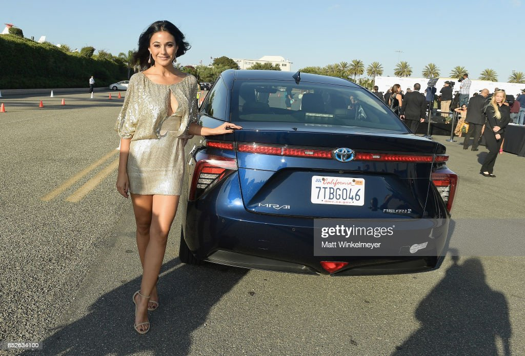 Emmanuelle Chriqui poses with the Toyora Mirai, the zero emissions car, during the 2017 EMA Awards Presented by Toyota on September 23, 2017 in Santa Monica, California.