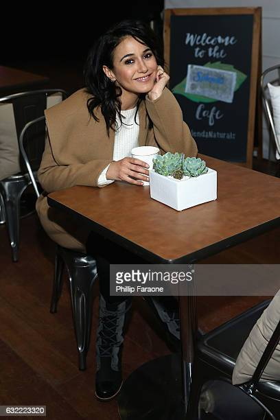Emmanuelle Chriqui warms up at the SPLENDA® Naturals café on January 20th in Park City Utah