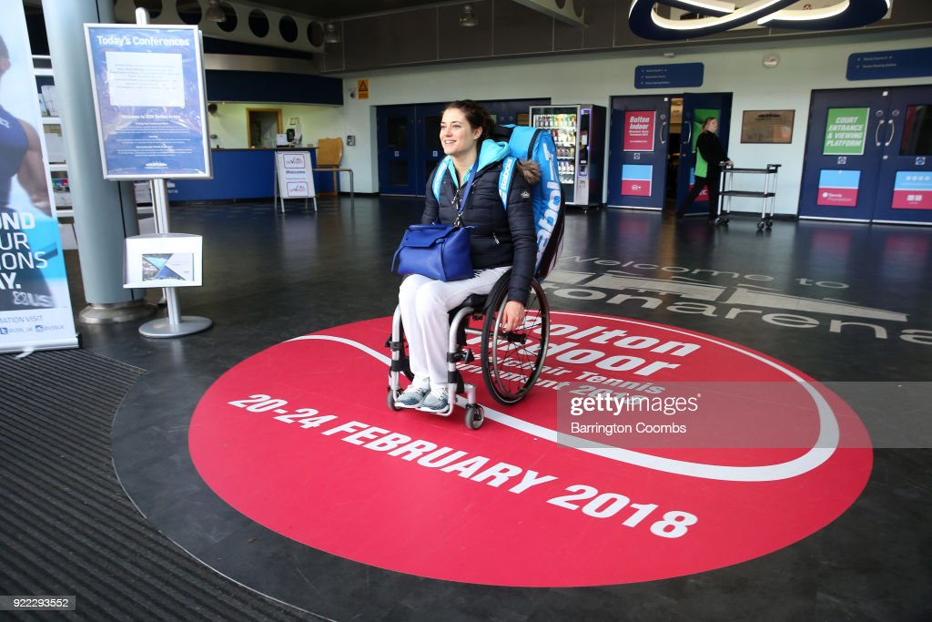 Emmanuelle Morch of France heads out of the arena during the 2018 Bolton Indoor Wheelchair Tennis Tournament at Bolton Arena on February 21, 2018 in Bolton, England.