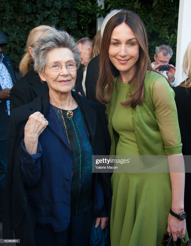 Emmanuelle Riva and Elsa Zylberstein attends The Consul General Of France, Mr. Axel Cruau, reception in Honor of The French Nominees For The 85th Annual Academy Awards at French Consulate's Home on February 25, 2013 in Beverly Hills, California.