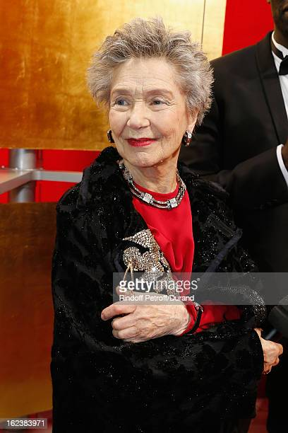 Emmanuelle Riva prepares to talk during a live broadcast after she arrived to attend the Cesar Film Awards 2013 at Theatre du Chatelet on February 22...