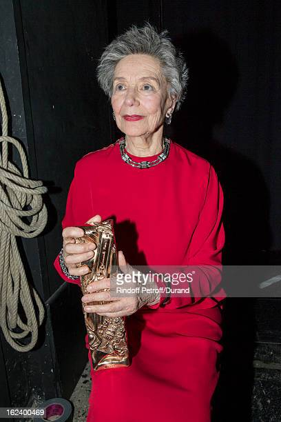 Emmanuelle Riva sits backstage and holds the best actress Cesar award she received for Amour during the Cesar Film Awards 2013 at Theatre du Chatelet...