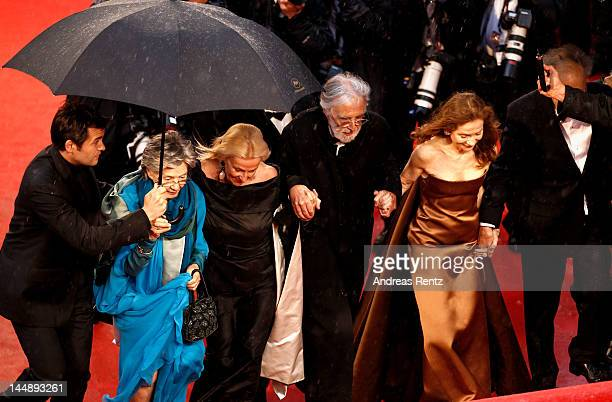 "Emmanuelle Riva, Susanne Haneke, director Michael Haneke, Isabelle Huppert and Jean-Louis Trintignant and Nadine Trintignant attend the ""Amour""..."