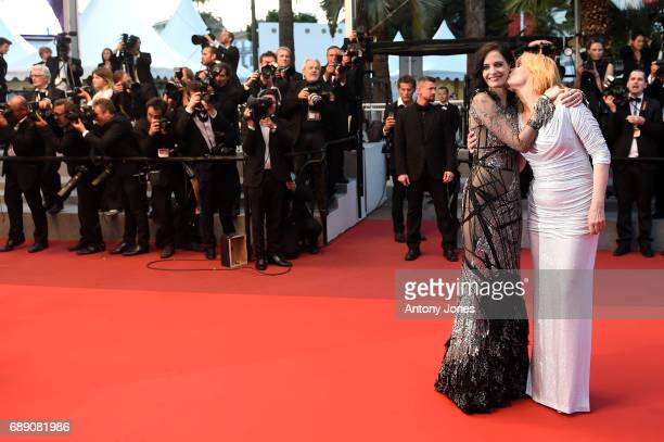 Emmanuelle Seigner and Eva Green leave the 'Based On A True Story' screening during the 70th annual Cannes Film Festival at Palais des Festivals on...