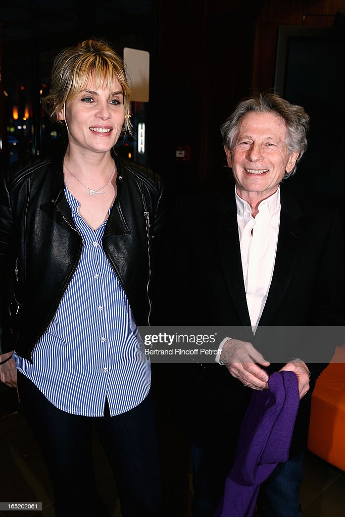 Emmanuelle Seigner and Roman Polanski attend 'Des gens qui s'embrassent' movie premiere at Cinema Gaumont Marignan on April 1, 2013 in Paris, France.