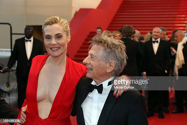 Emmanuelle Seigner and Roman Polanski attend the 'La Venus A La Fourrure' premiere during The 66th Annual Cannes Film Festival at the Palais des...