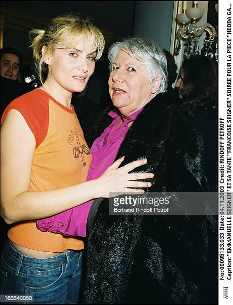 Emmanuelle Seigner and Sa Tante Francoise Seigner party for the play Hedda Gabler at the Marigny theater