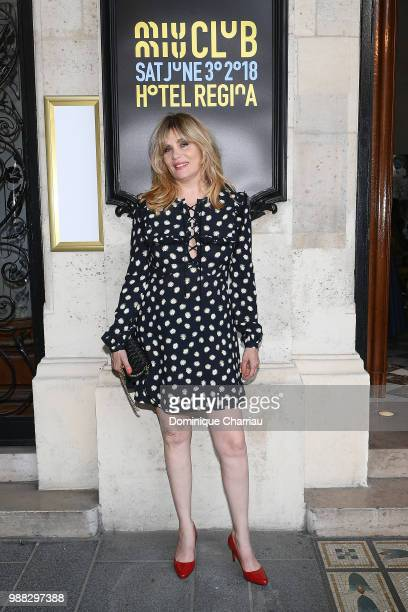 Emmanuelle Seigner attends Miu Miu 2019 Cruise Collection Show at Hotel Regina on June 30 2018 in Paris France