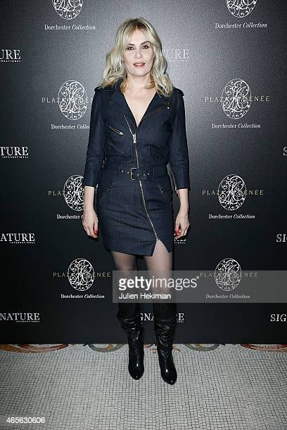 Emmanuelle Seigner attends 'Signature International'Launch Cocktail as part of the Paris Fashion Week Womenswear Fall/Winter 2015/2016 on March 8...