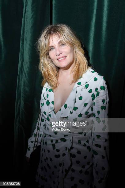 Emmanuelle Seigner attends the Miu Miu after show as part of the Paris Fashion Week Womenswear Fall/Winter 2018/2019 on March 7 2018 in Paris France