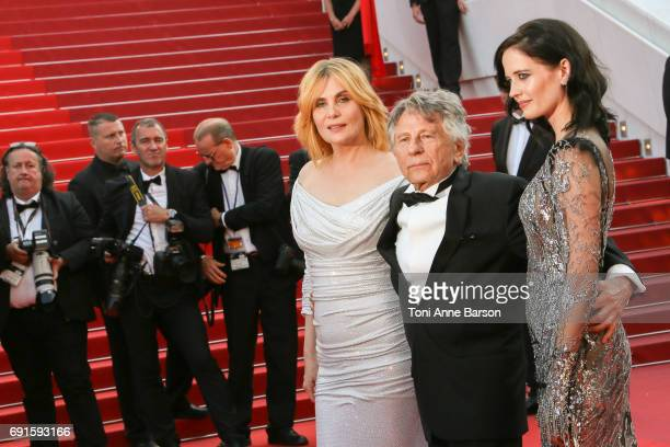 Emmanuelle Seigner director Roman Polanski and Eva Green attend the 'Based On A True Story' screening during the 70th annual Cannes Film Festival at...
