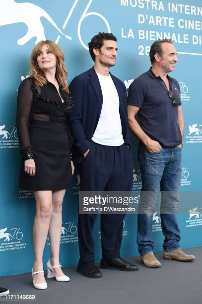 Emmanuelle Seigner Louis Garrel and Jean Dujardin attend J'Accuse photocall during the 76th Venice Film Festival at Sala Grande on August 30 2019 in...