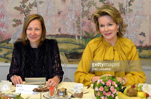 Emmaus' Inge Vervotte and Queen Mathilde of Belgium attend a meeting with leading women from various sectors in the Antwerp province, on March 11 in...