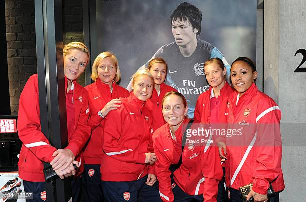 Emme Byrne Jayne Ludlow Steph Houghton Ellen White Faye White Katie Chapman and Alex Scott of Arsenal Ladies FC during a visit to the Nike Store on...