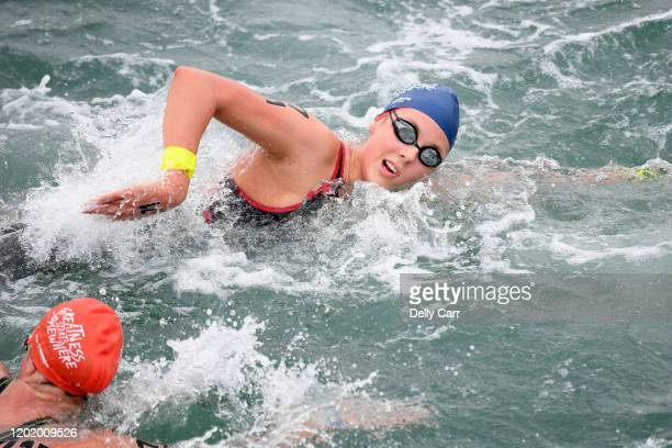 Emme Macleod of Australia swimming the 5km race during the 2020 Australian Open Water Swimming Championships at Brighton Beach on January 26 2020 in...