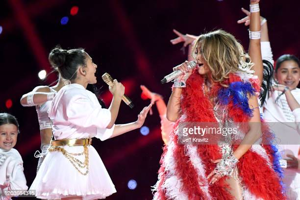 Emme Maribel Muñiz and Jennifer Lopez perform onstage during the Pepsi Super Bowl LIV Halftime Show at Hard Rock Stadium on February 02, 2020 in...