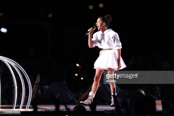 Emme Maribel Muñiz daughter of Jennifer Lopez performs during the Pepsi Super Bowl LIV Halftime Show at Hard Rock Stadium on February 02 2020 in...