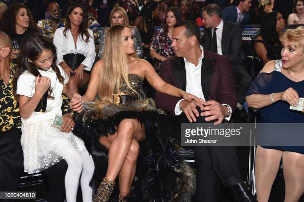 Emme Maribel Muñiz Jennifer Lopez Alex Rodriguez and Guadalupe Rodríguez attend the 2018 MTV Video Music Awards at Radio City Music Hall on August 20...