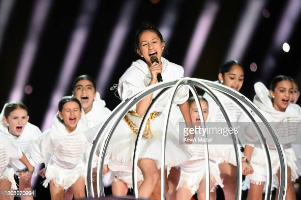 Emme Maribel Muñiz performs onstage during the Pepsi Super Bowl LIV Halftime Show at Hard Rock Stadium on February 02 2020 in Miami Florida