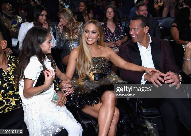 Emme Maribel Muniz Jennifer Lopez and Alex Rodriguez inside the 2018 MTV Video Music Awards at Radio City Music Hall on August 20 2018 in New York...