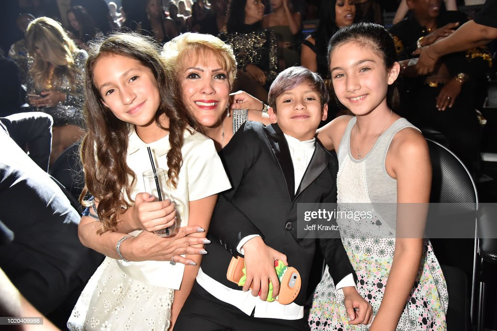 Emme Muniz, Guadalupe Rodriguez, and Maximilian Muniz attend the 2018 MTV Video Music Awards at Radio City Music Hall on August 20, 2018 in New York City.