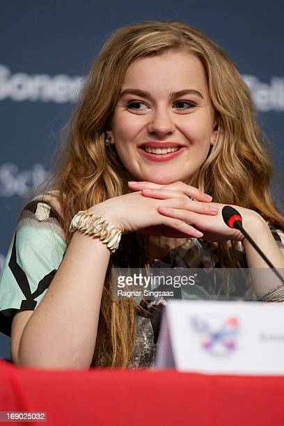 Emmelie de Forest of Denmark attends a photocall after winning the Eurovision Song Contest 2013 at Malmo Arena on May 18 2013 in Malmo Sweden