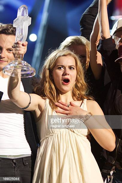 Emmelie de Forest of Denmark celebrates after winning the Eurovision Song Contest 2013 at Malmo Arena on May 18 2013 in Malmo Sweden