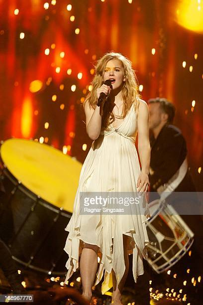 Emmelie de Forest of Denmark performs during a dress rehearsal ahead of the finals of the Eurovision Song Contest 2013 at Malmo Arena on May 17 2013...