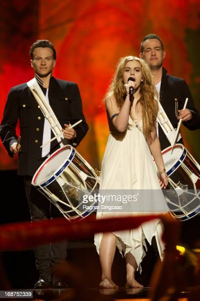 Emmelie de Forest of Denmark performs on stage during the first semi final of the Eurovision Song Contest 2013 at Malmo Arena on May 14 2013 in Malmo...